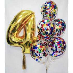 Разноцветные шарики с конфетти и цифра