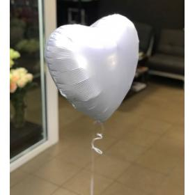 Фольгированное белое сердце