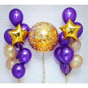 Фонтан из шаров с большим прозрачным шаром с конфетти