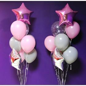 Фонтан из шариков серого и розового цвета