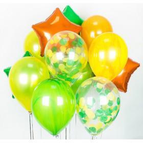 Фонтан из шариков в ярких цветах