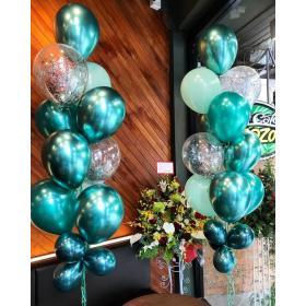 Фонтан из шаров хром зелёного цвета