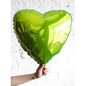 Фольгированное салатовое сердце металлик