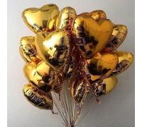 Фольгированные золотые сердца