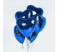 Фольгированное синее сердце металлик