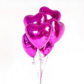Фольгированное сердце тёмно-розовое металлик (Фуксия)