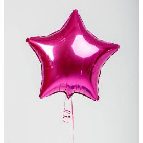 Шар звезда тёмно розовый металлик (Фуксия)