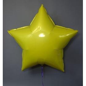 Шар звезда жёлтый металлик