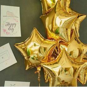 Фольгированные шары золотые звёзды
