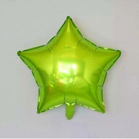 Шар звезда салатовая металлик
