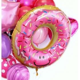 Фольгированный шар пончик в глазури розовый