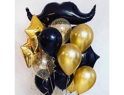 Золотые и чёрные шарики для мужчины с фигурой усы