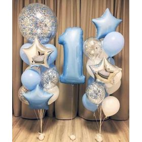 Оформление шарами на один годик для мальчика