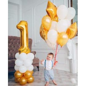 Шарики на 1 годик в золотом стиле