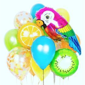 Облако цветных латексные шаров с попугаем
