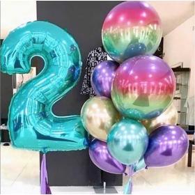 Букет из шариков на 2 года со сферами