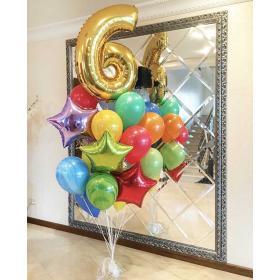 Букет воздушных шаров с цифрой и агатами