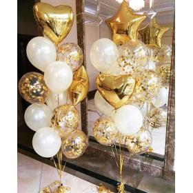 Букеты из шаров в белом и золотом цвете