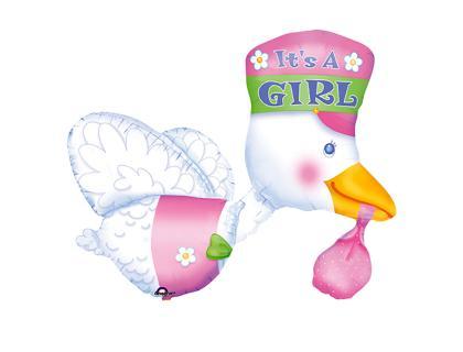 Фольгированный шар с розовым кулёчком который несет в клювике