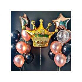 Букет из шаров с короной в стиле розовое золото