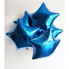 Шар звезда синий металлик