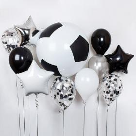 Шарик в виде футбольного мяча с шарами конфетти