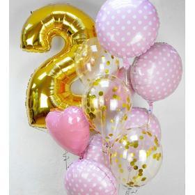 Облако из шаров с фольгированной цифрой и шариками с конфетти