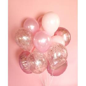 Облако шаров цвета розовое золото