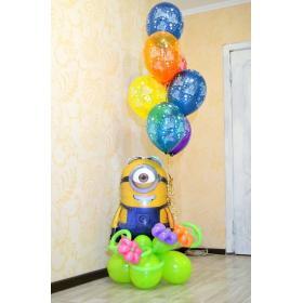 Композиция миньён и шары с днём рождения