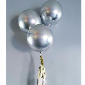 Шар 3D СФЕРА без рисунка Металлик Silver (43 см) 1 штука