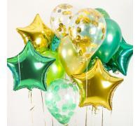 Композиция шаров с конфетти, без рисунка металлик и звёзды