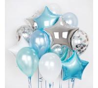 Облако шаров с фольгированными звёздами, шары металлик и шары с конфетти