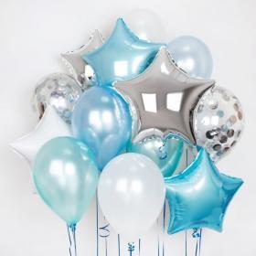 Облако шаров с фольгированными звёздами и шариками с конфетти