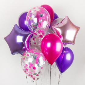 Композиция из шаров с фольгированными звёздами и шарами с конфетти