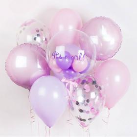 Композиция на выписку из роддома для девочки с пластиковым шаром баблс с надписью и фольгированными и латексными шарами