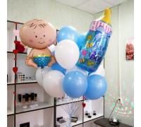 Облако шаров на выписку для мальчика с бутылочной и младенцем