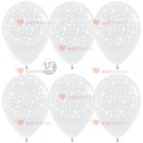 Шар 12'' Бабочки и цветок Прозрачный кристалл