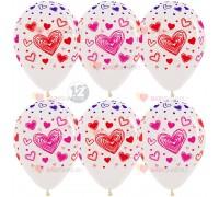 Шар 12'' Разноцветные сердца Прозрачный кристалл многоцветный