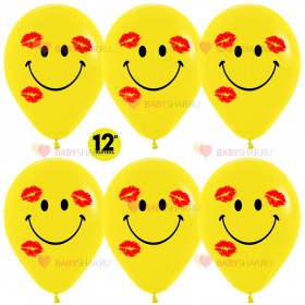Шар 12'' Смайл в поцелуях Желтый пастель