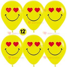 Шар 12'' Смайл влюбленный Желтый пастель