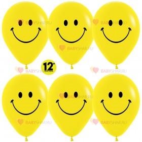 Шар 12'' Смайлы классические Желтый пастель
