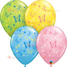 Шары шелк Бабочки 2-х цветные