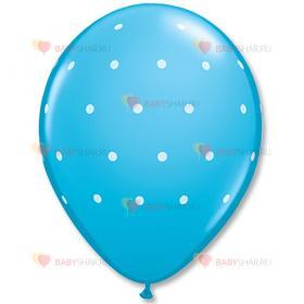 """Шары шелк 11"""" Горошек мелкий голубой"""