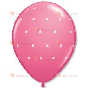 """Шары шелк 11"""" Горошек мелкий розовый"""
