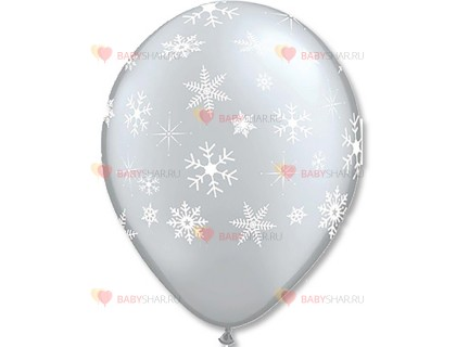 "Шары шелк 11"" Снежинки Silver"