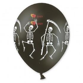 """Шелкография пастель 14"""" Скелет черный"""