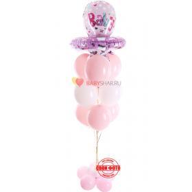 Фонтан из бело-розовых шариков и фигуры соски для девочки baby