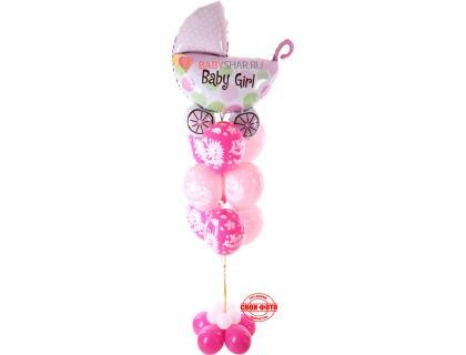 Фонтан из шариков «Ура девочка» и фигуры коляска с надписью baby