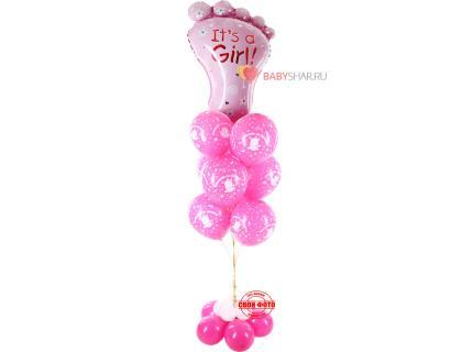 Фонтан из шариков спасибо за дочь малинового цвета и фольгированный фигуры пятки