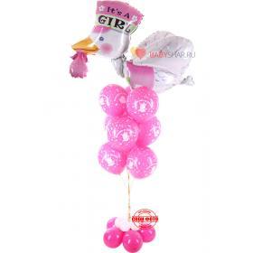 Композиция с малиновыми шарами спасибо за дочку и фольгированным шариком аистом